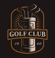 golf clubs logo on dark background vector image vector image