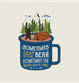 hand drawn adventure logo with mug camp tent