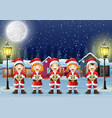 happy kid wearing santa costume singing in the sno vector image vector image