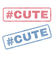 hashtag cute textile stamps vector image vector image