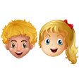 Head of boy and girl vector image vector image