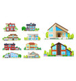 house cottage villa and mansion building icons vector image vector image