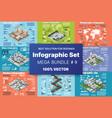 isometric set infographics concept blocks vector image vector image