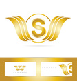 Letter S logo gold wings vector image vector image