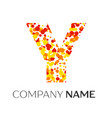 letter y logo with orange yellow red particles vector image vector image