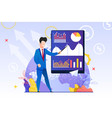 man in blue suit shows pointer chart screen tablet vector image