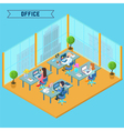 Modern Office Interior Isometric Business vector image