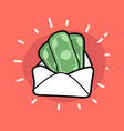money in envelope doodle icon vector image vector image