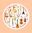 musical instruments on round shape vector image vector image