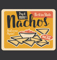 nacho retro banner of mexican fast food restaurant vector image vector image