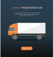 orange cargo delivery truck isolated on dark backg vector image vector image
