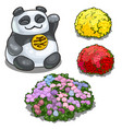 panda with hieroglyph feng shui and flower beds vector image vector image