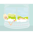 pretty girl with drink in bath enjoying elegant vector image vector image