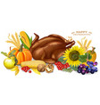 roasted turkey pumpkin and sunflower vector image vector image