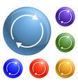 round circle arrow icons set vector image