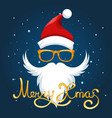 santa hat glasses and beard poster vector image vector image