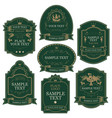 set labels in green and gold colors vector image