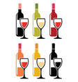 set of colorful icons of red wine bottles with vector image vector image