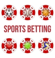 Square red casino chips of soccer sports betting vector image vector image