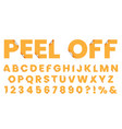 sticker font peel off letters font sticker vector image