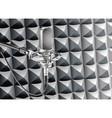 studio microphone for recording in radio studio vector image vector image