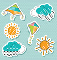 sun with clouds and flying kites sticker vector image vector image
