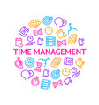 time management signs thin line round design vector image vector image