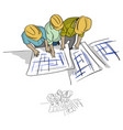 top view three construction engineer vector image