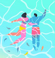 turquoise water two people couple swimming in vector image vector image