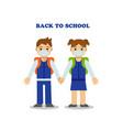 two children go to school wearing masks vector image