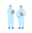 two diverse male doctors in protective suits vector image