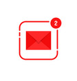 two notification in full red mail vector image vector image