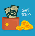 wallet with coins and bills dollars money vector image vector image