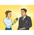Woman reporter interviewing man comic book vector image vector image