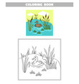 coloring book pond duck vector image