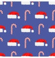 Red Hat and Candy Cane Seamless Pattern vector image