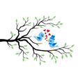 Kissing Birds in love at branch vector image