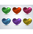 set of colored shiny hearts vector image