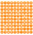100 hotel services icons set orange vector image vector image