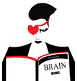 an angry man reading a book about brain issues vector image