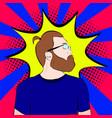 bearded man in glasses in vector image