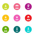 beneficiary icons set flat style vector image vector image