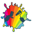 blot color roller and paintbrush in hand of vector image vector image
