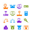 cartoon weight scales silhouette color icons set vector image