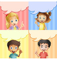 Children with speech bubble templates vector image vector image