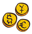 coins with symbols foreign currency colored vector image vector image