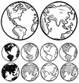 doodle globe earth vector image vector image