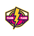flash logo badge with lightning symbol design vector image vector image