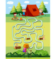 Game template with children camping in the field vector image vector image
