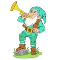 Gnome with signal horn vector image vector image